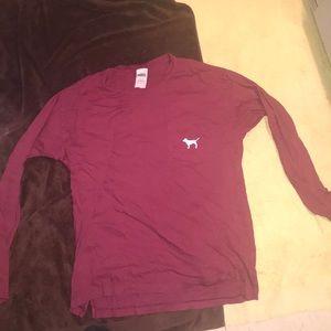 """PINK""Burgundy Logo shirt"